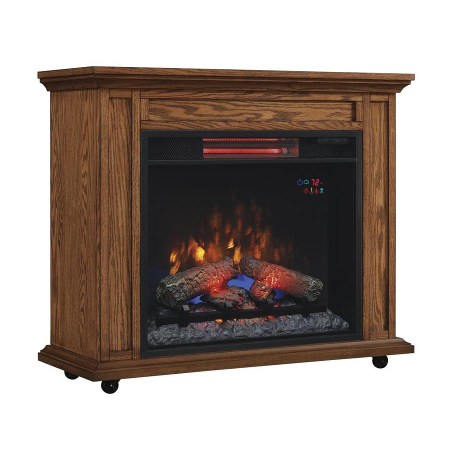 33-in W 5,200-BTU Premium Oak Wood Infrared Quartz Electric Fireplace with Thermostat and Remote Control