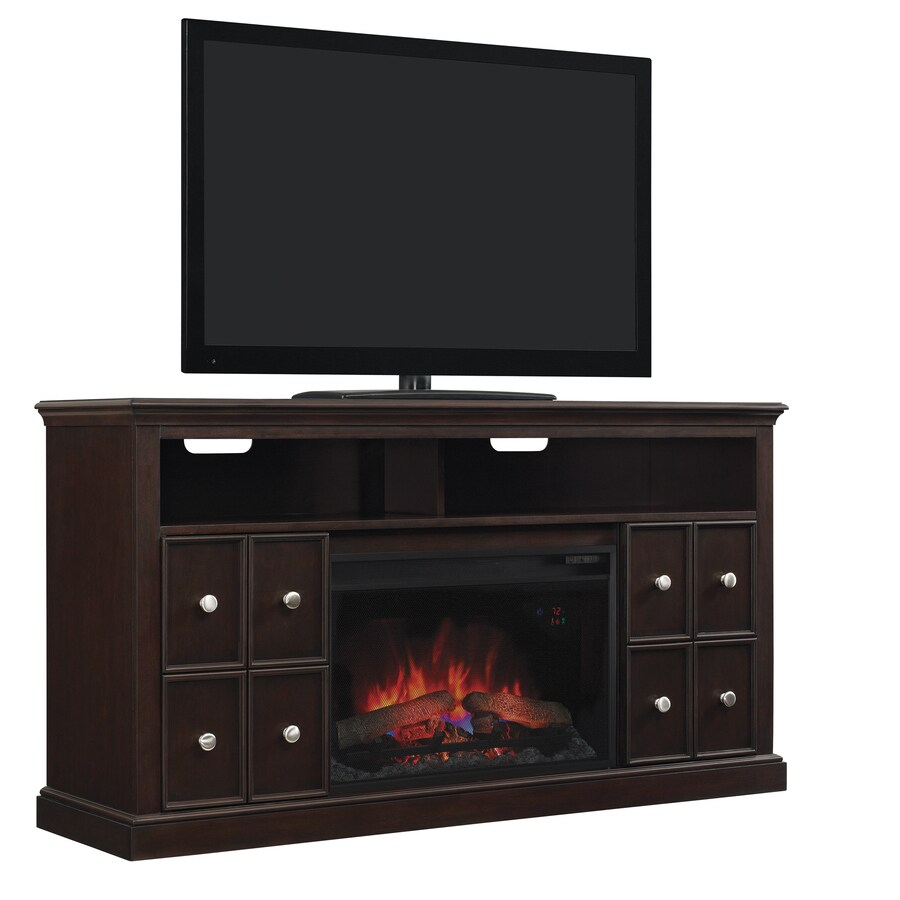 Style Selections 56.5-in W 4,600-BTU Buxton Brown Wood Fan-Forced Electric Fireplace with Thermostat and Remote Control
