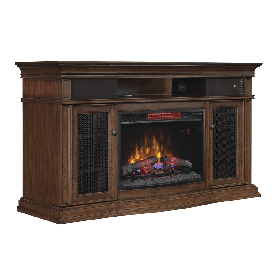 Style Selections 59-in W 5,200-BTU Walnut Wood Infrared Quartz Electric Fireplace with Thermostat and Remote Control
