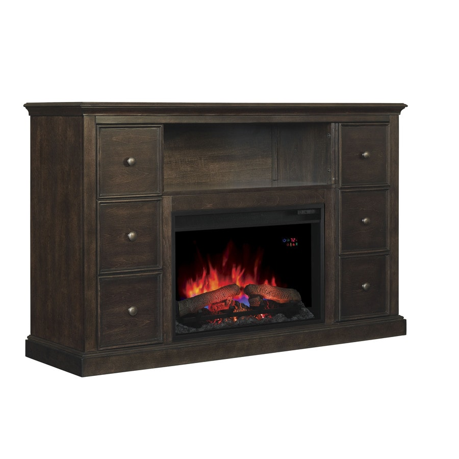 Shop Chimney Free 55 5 In W 4 600 Btu Buxton Brown Wood Fan Forced Electric Fireplace With