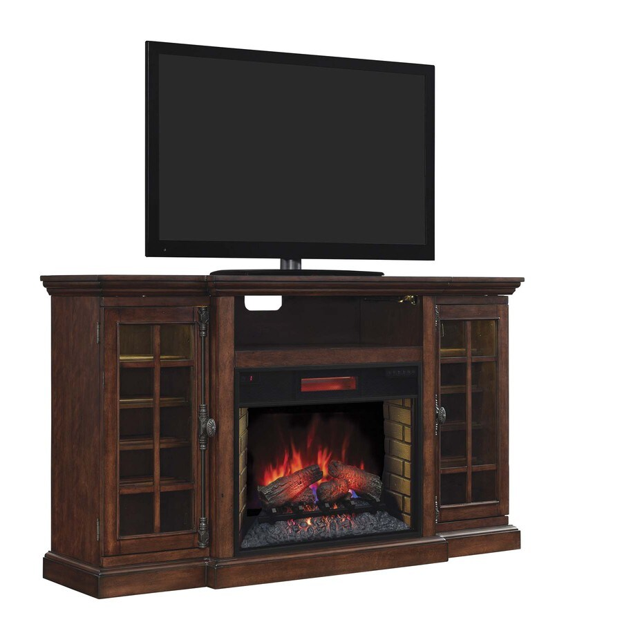 Chimney Free 64-in W 4,600-BTU Old World Brown Wood Veneer Fan-Forced Electric Fireplace with Thermostat with Remote Control