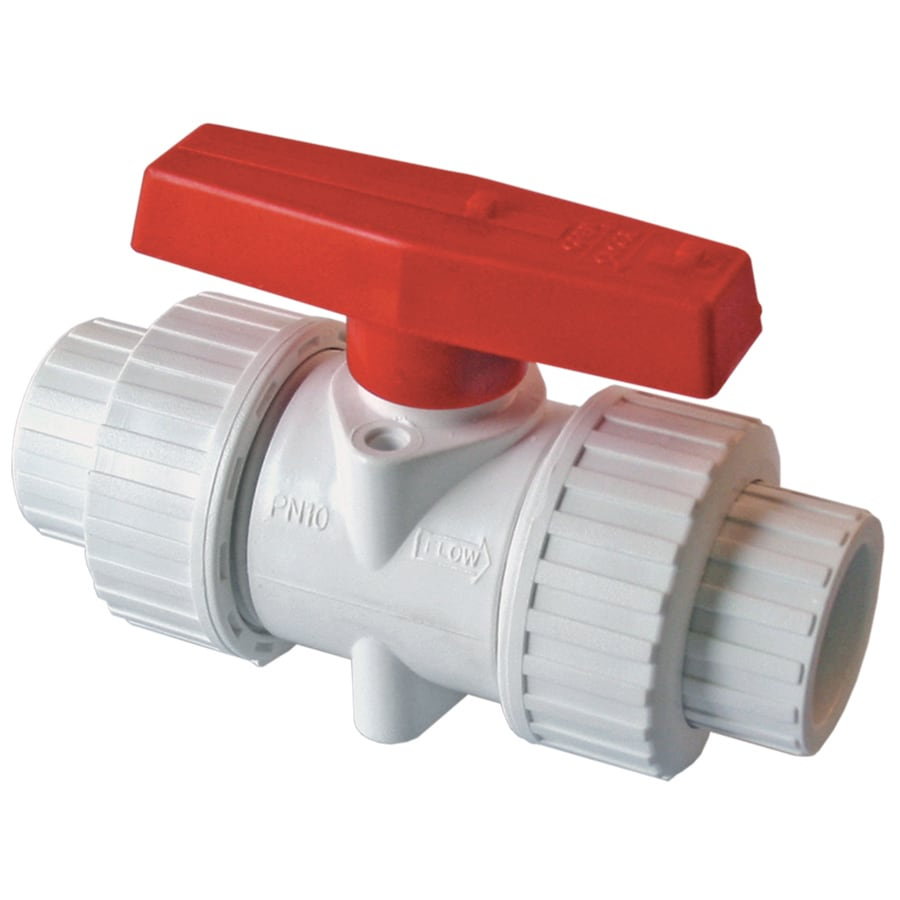AMERICAN VALVE 2-in PVC Sch 40 Socket In-Line Ball Valve with Integral Stop