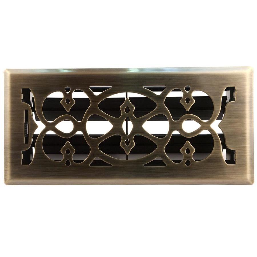 allen + roth Victorian Antique Brass Steel Floor Register (Rough Opening: 10-in x 4-in; Actual: 11.43-in x 5.36-in)