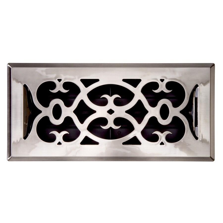 Accord Victorian Satin Nickel ABS Resin Floor Register (Rough Opening: 10-in x 4-in; Actual: 11.38-in x 5.37-in)