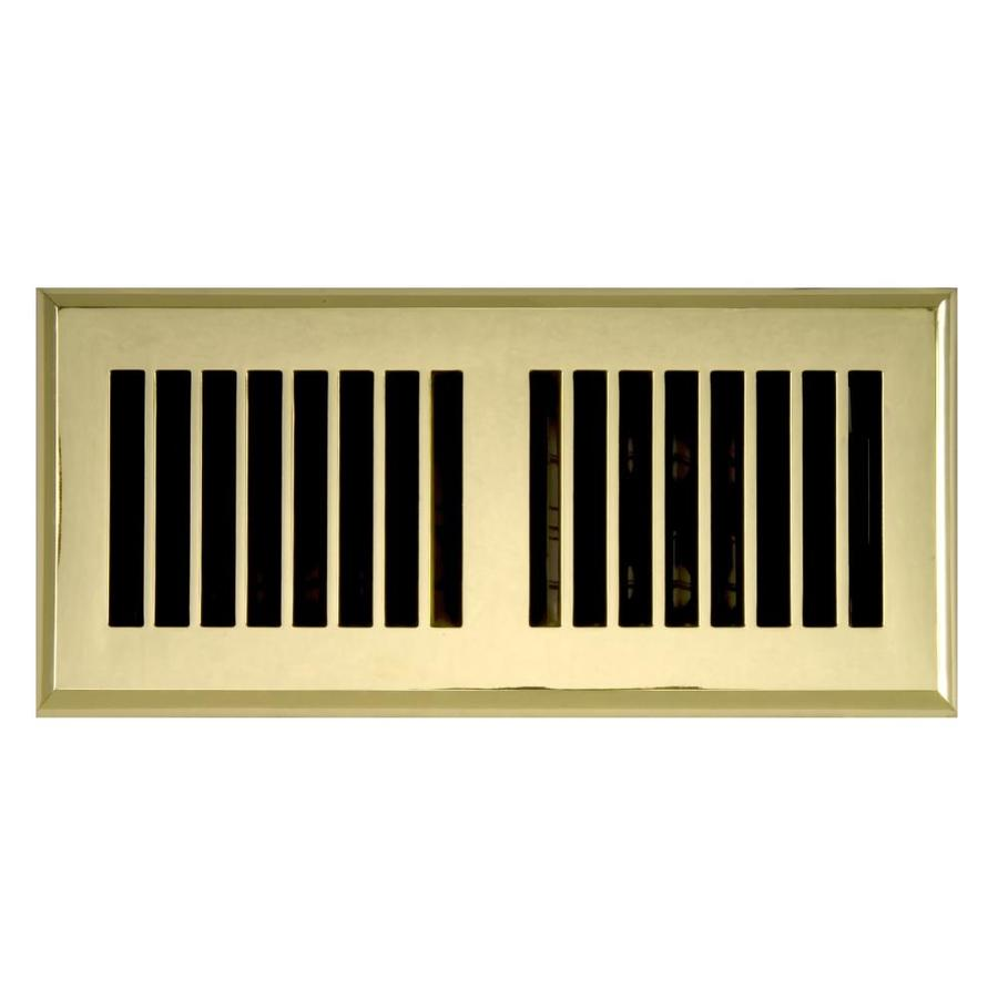 Accord Louvered Polished Brass ABS Resin Floor Register (Rough Opening: 10-in x 4-in; Actual: 11.42-in x 5.37-in)