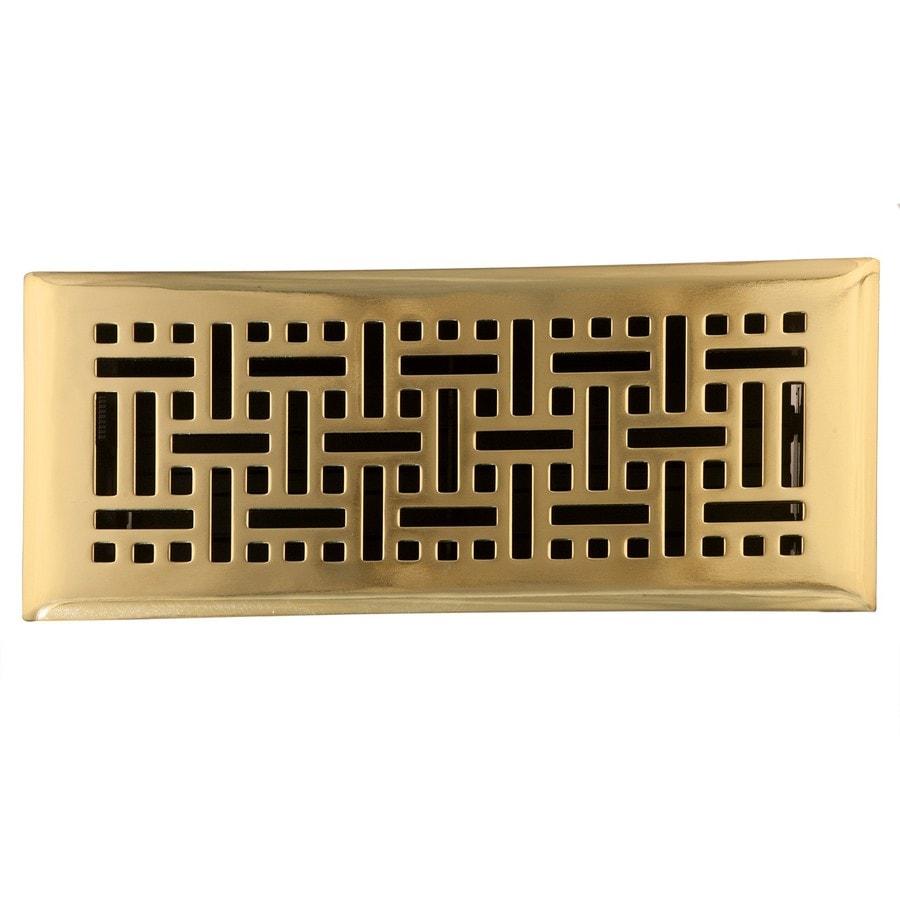 Accord Wicker Polished Brass Steel Floor Register (Rough Opening: 10-in x 2-in; Actual: 11.42-in x 3.6-in)