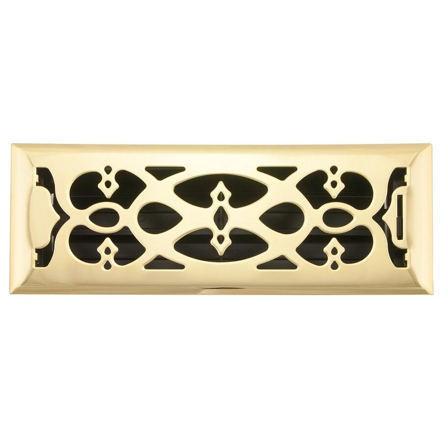 allen + roth Victorian Polished Brass Steel Floor Register (Rough Opening: 14-in x 4-in; Actual: 15.42-in x 5.37-in)