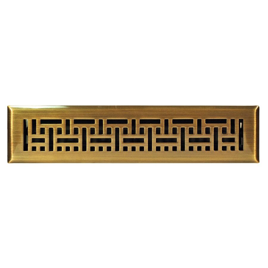 Accord Wicker Antique Brass Steel Floor Register (Rough Opening: 14-in x 2-in; Actual: 15.42-in x 3.6-in)