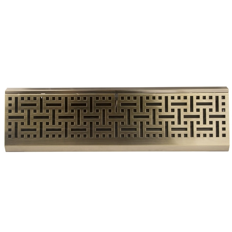 allen + roth Wicker Antique Brass Steel Baseboard Register (Rough Opening: 4.5-in x 18-in; Actual: 18.11-in x 4.5-in)