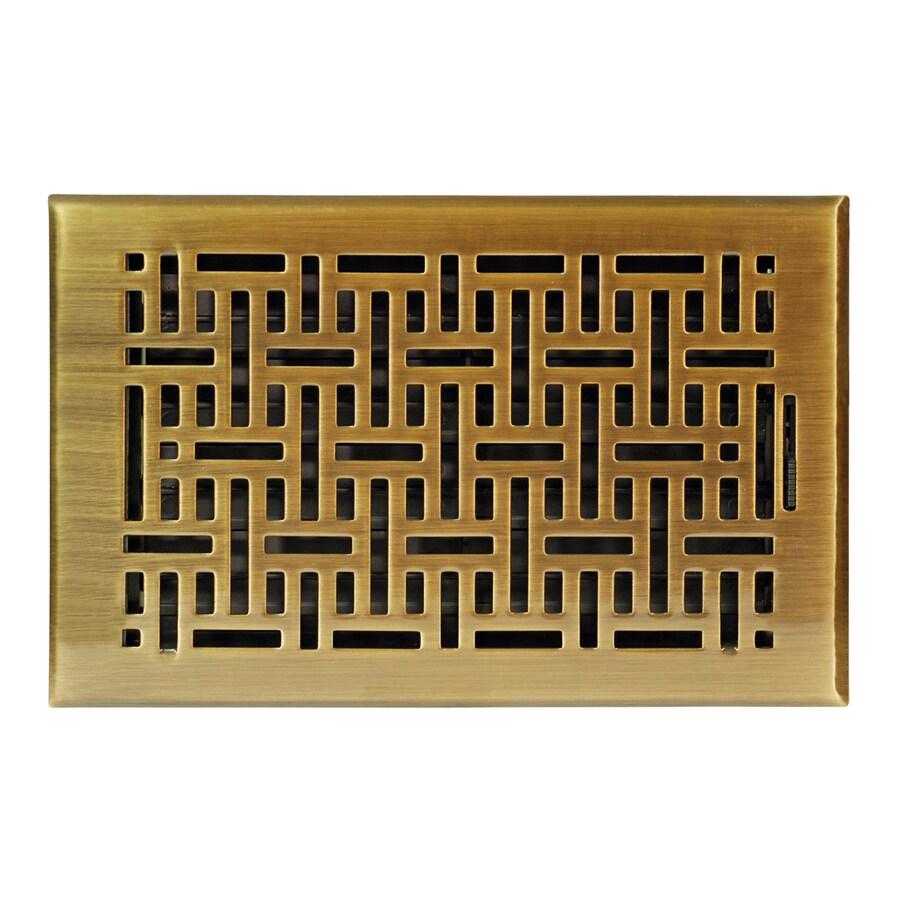 allen + roth Wicker Antique Brass Steel Floor Register (Rough Opening: 10-in x 6-in; Actual: 11.42-in x 7.37-in)