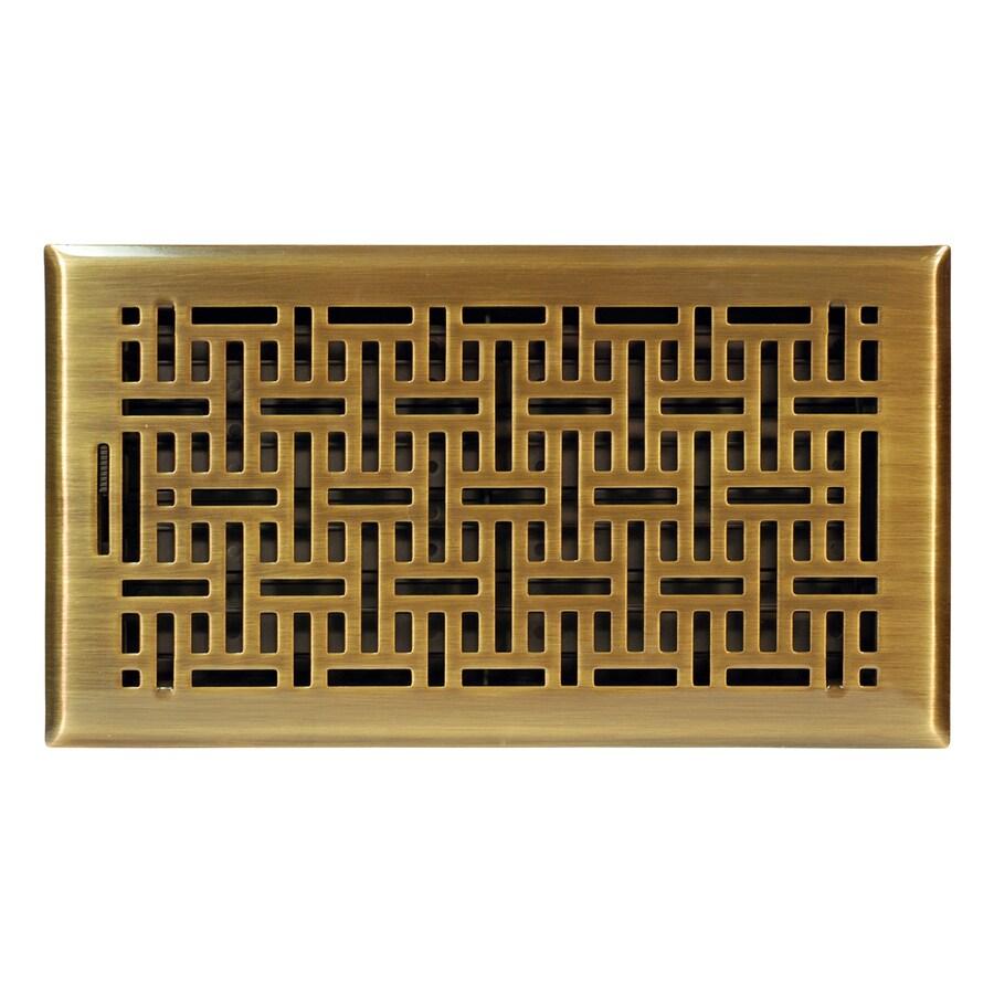 Accord Wicker Antique Brass Steel Floor Register (Rough Opening: 14-in x 6-in; Actual: 15.42-in x 7.37-in)