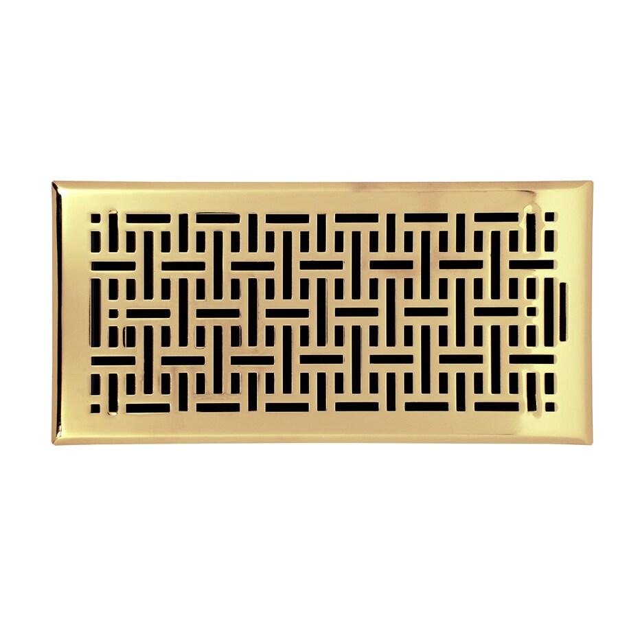 Accord Wicker Polished Brass Steel Floor Register (Rough Opening: 12-in x 6-in; Actual: 13.42-in x 7.37-in)