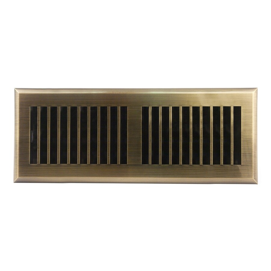 Accord Louvered Antique Brass ABS Resin Floor Register (Rough Opening: 12-in x 4-in; Actual: 13.39-in x 5.36-in)
