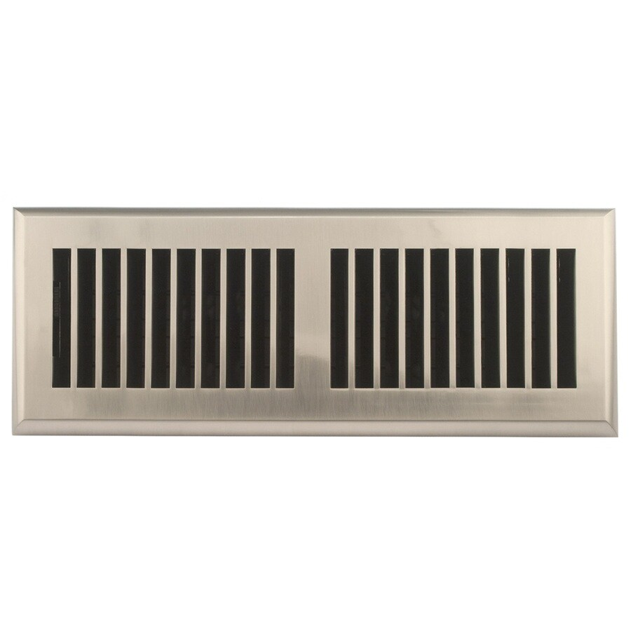 Accord Louvered Satin Nickel ABS Resin Floor Register (Rough Opening: 12-in x 4-in; Actual: 13.39-in x 5.4-in)