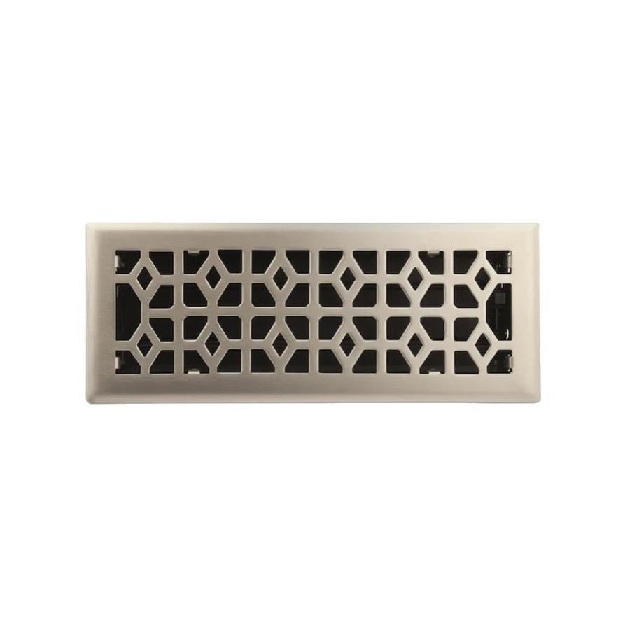 allen + roth Marquis Satin Nickel Steel Floor Register (Rough Opening: 12-in x 4-in; Actual: 13.47-in x 5.36-in)
