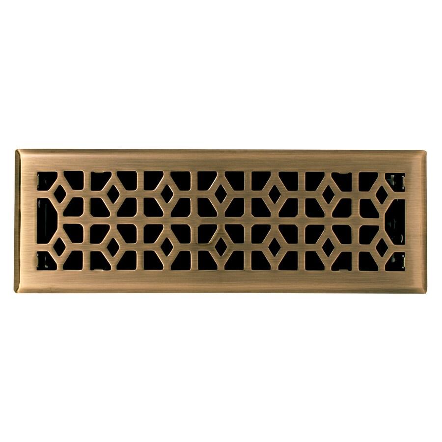 allen + roth Marquis Antique Brass Steel Floor Register (Rough Opening: 14-in x 4-in; Actual: 11.42-in x 5.39-in)
