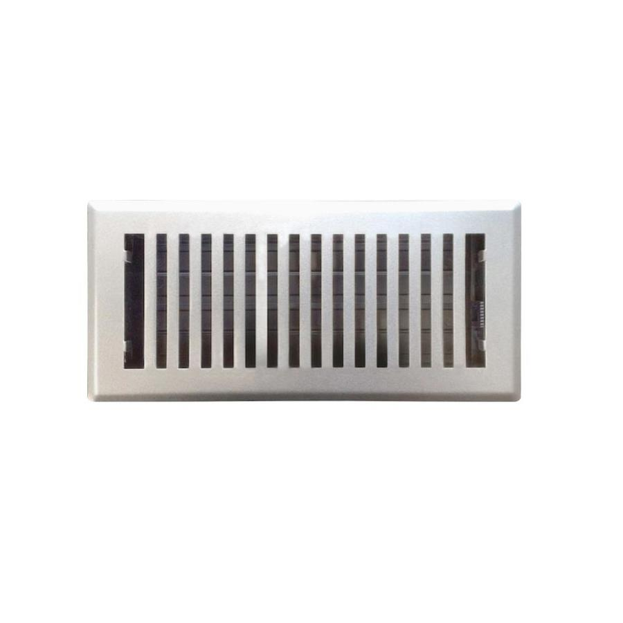 Accord Brooklyn Satin Nickel Steel Floor Register (Rough Opening: 12-in x 4-in; Actual: 13.42-in x 5.37-in)
