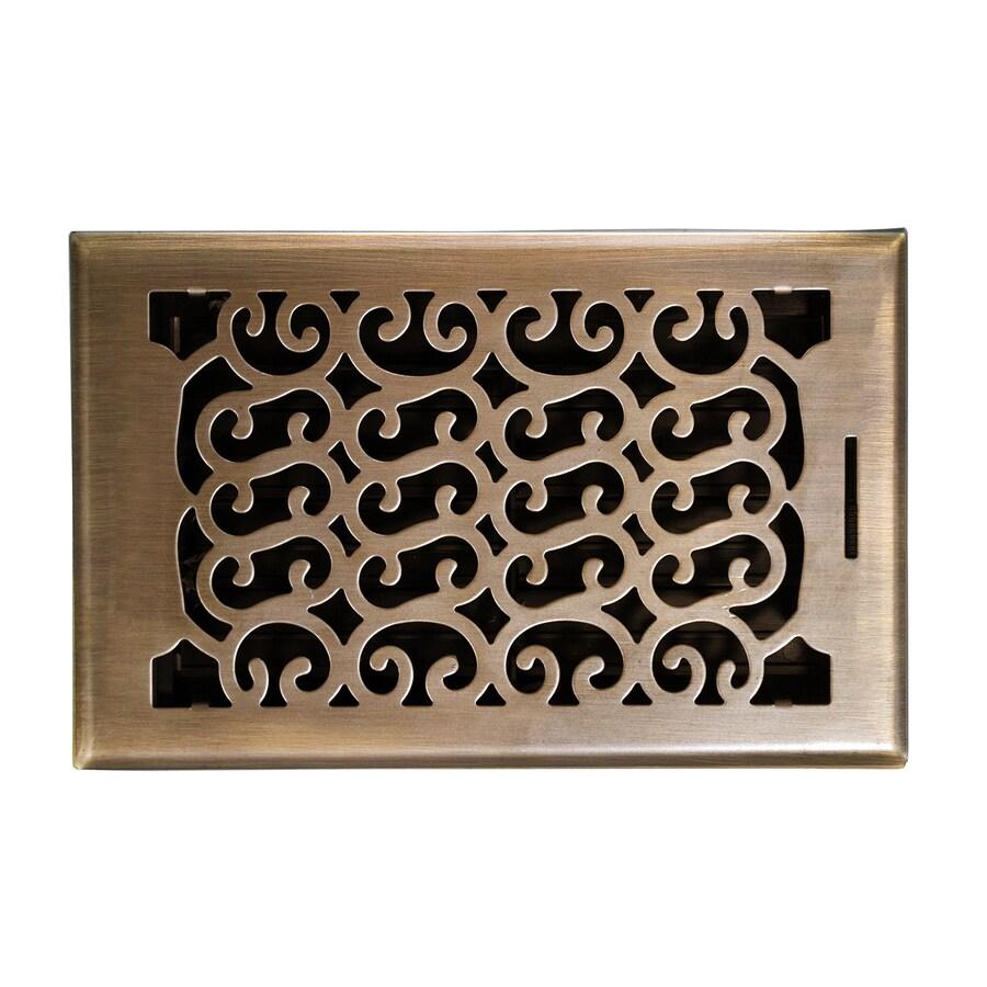 allen + roth Charleston Antique Brass Steel Floor Register (Rough Opening: 10-in x 6-in; Actual: 11.42-in x 7.37-in)