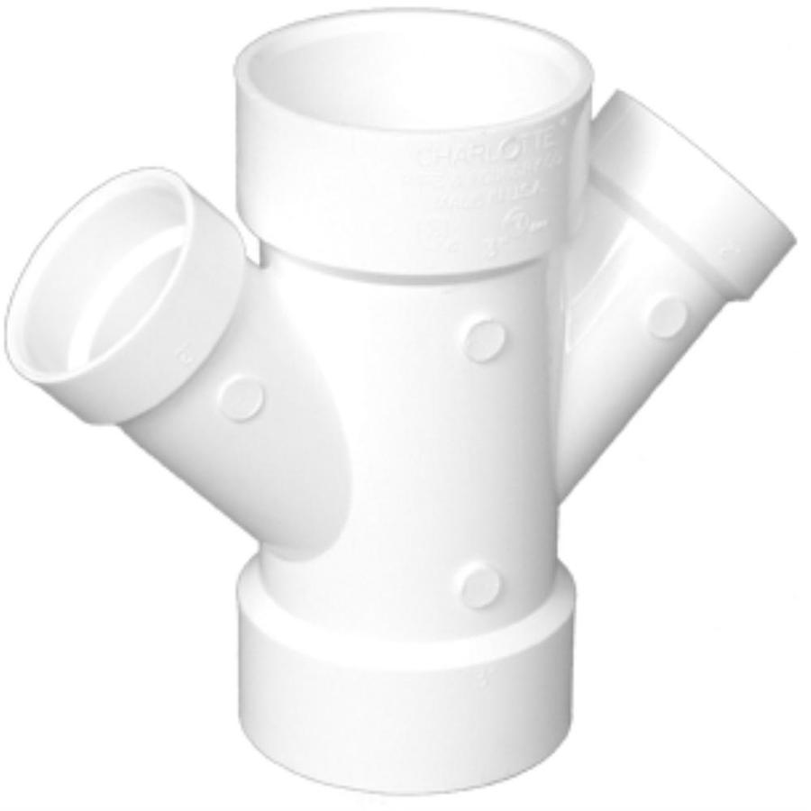 Charlotte Pipe 4-in x 4-in x 3-in x 3-in dia 45-Degree PVC Double Wye Fitting