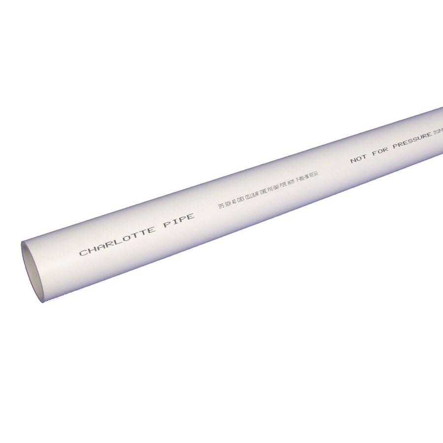 Charlotte Pipe 4-in x 20-ft Sch 40 PVC DWV Pipe