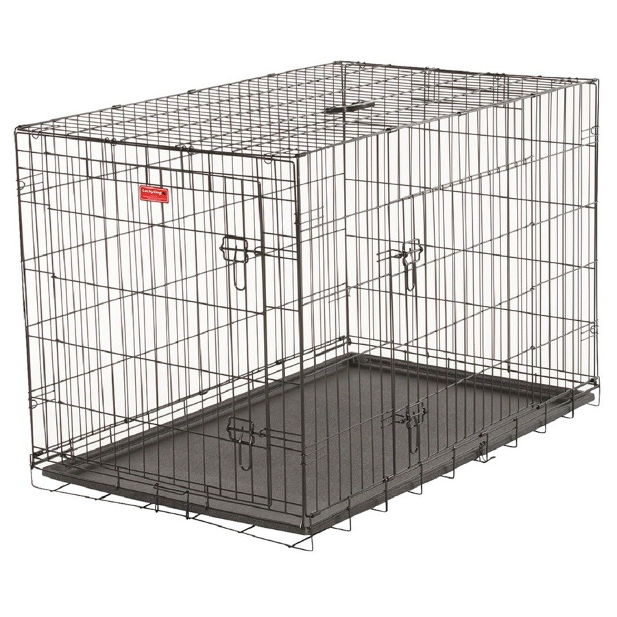 Lucky Dog 48-in x 24.5-in x 24.75-in Black Powder Coat Collapsible Plastic and Wire Pet Crate