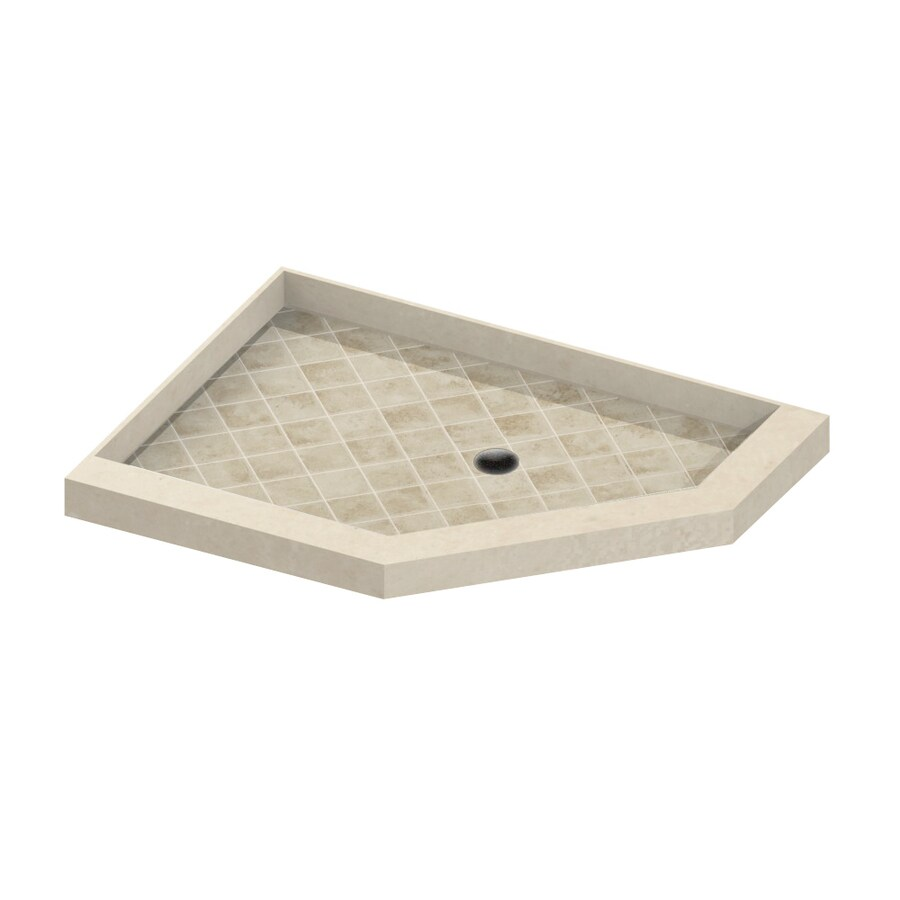 American Bath Factory 48-in L x 42-in W Flagstaff Molded Stone Neo-Angle Corner Shower Base