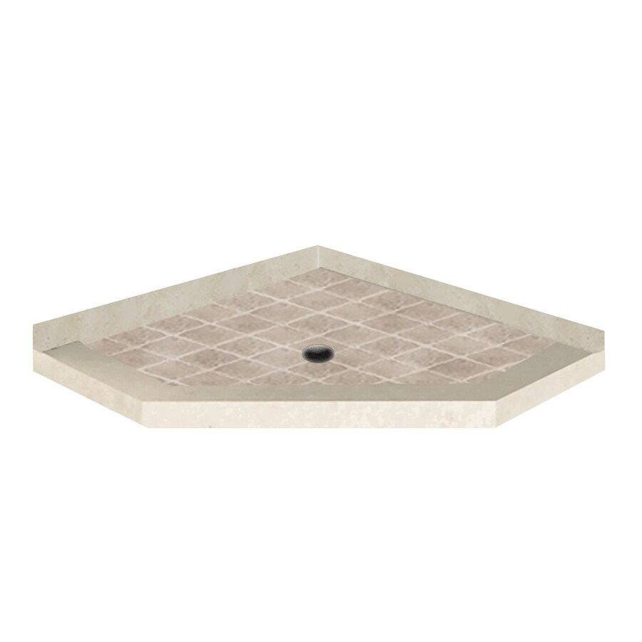 American Bath Factory 42-in L x 42-in W Flagstaff Molded Stone Neo-Angle Corner Shower Base