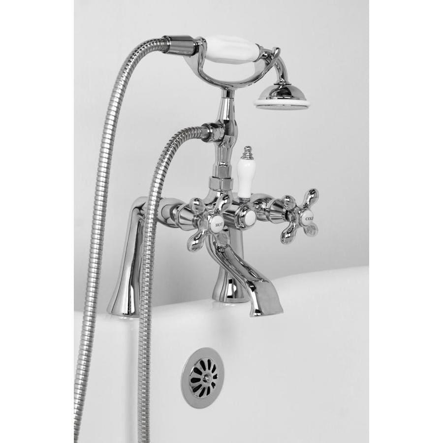 American Bath Factory Chrome 3-Handle Fixed Deck Mount Bathtub Faucet