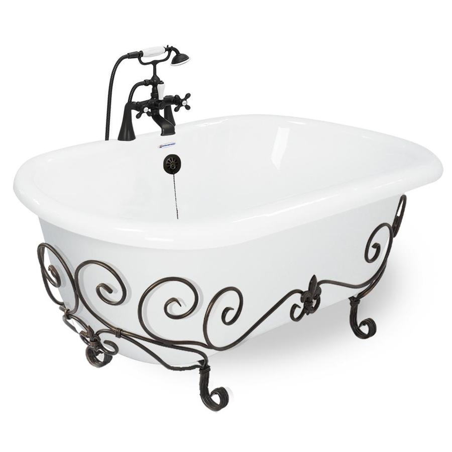 American Bath Factory White Acrylic Round Clawfoot Bathtub with Reversible Drain (Common: 60-in x 32-in; Actual: 25-in x 32-in x 70-in)