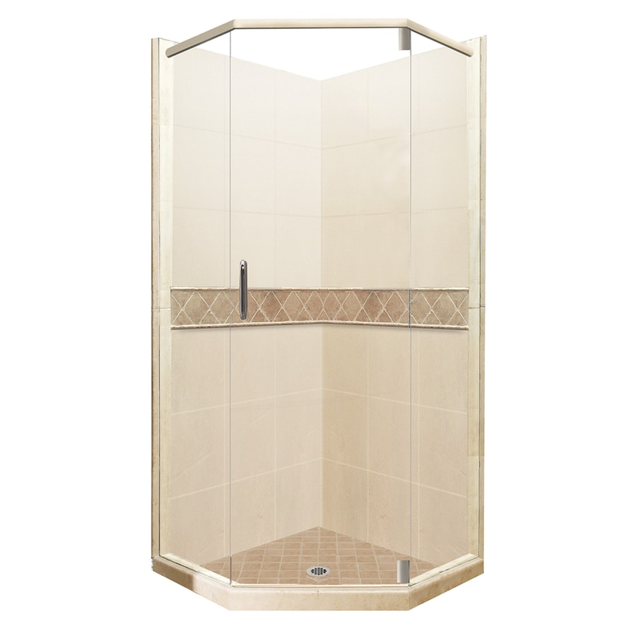 American Bath Factory Flagstaff Medium with Accent Fiberglass and Plastic Wall Stone Composite Floor Neo-Angle 14-Piece Corner Shower Kit (Actual: 80-in x 36-in x 36-in)