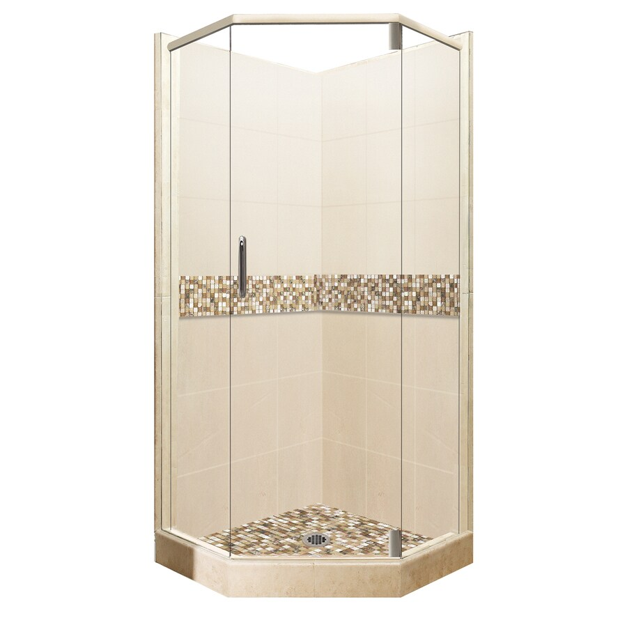 American Bath Factory Mesa Medium with Accent Fiberglass and Plastic Wall Stone Composite Floor Neo-Angle 14-Piece Corner Shower Kit (Actual: 80-in x 36-in x 36-in)