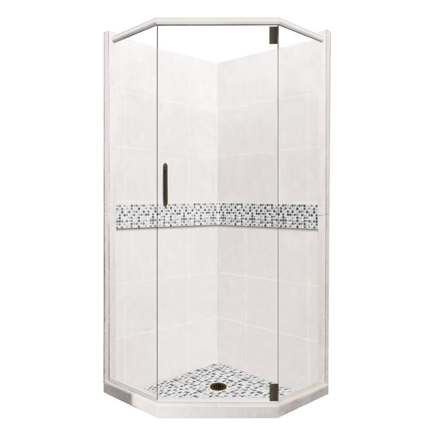American Bath Factory Laguna Light with Accent Fiberglass and Plastic Wall Stone Composite Floor Neo-Angle 14-Piece Corner Shower Kit (Actual: 80-in x 42-in x 42-in)