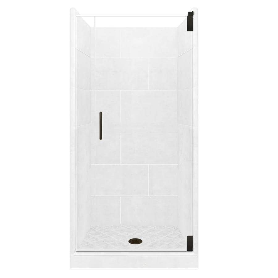 American Bath Factory Monterey Light Solid Surface Wall Stone Composite Floor 12-Piece Alcove Shower Kit (Common: 32-in x 36-in; Actual: 80-in X