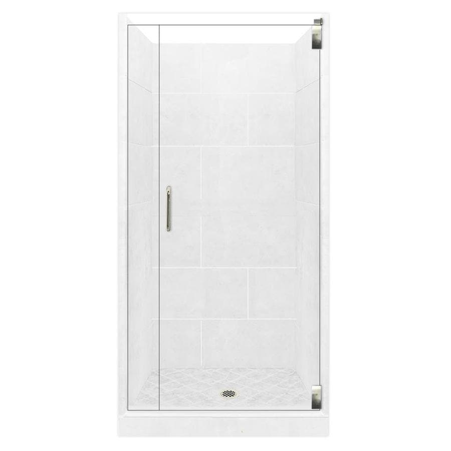 American Bath Factory Monterey Light Solid Surface Wall Stone Composite Floor 12-Piece Alcove Shower Kit (Common: 36-in x 42-in; Actual: 80-in X