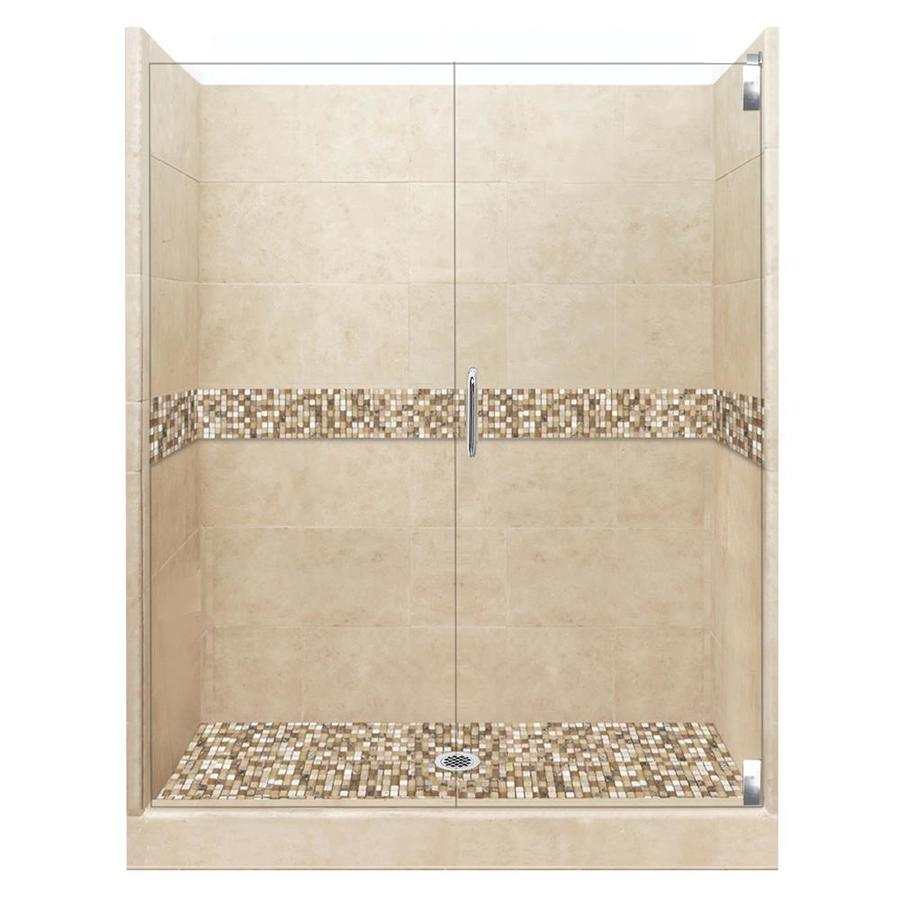 American Bath Factory Mesa Medium with Mesa Mosaic Tiles Solid Surface Wall Stone Composite Floor 12-Piece Alcove Shower Kit (Common: 36-in x 48-in; Actual: 80-in X