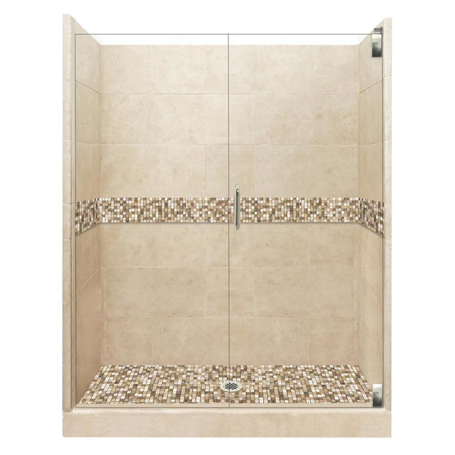 American Bath Factory Mesa Medium with Mesa Mosaic Tiles Solid Surface Wall Stone Composite Floor 12-Piece Alcove Shower Kit (Common: 42-in x 48-in; Actual: 80-in X
