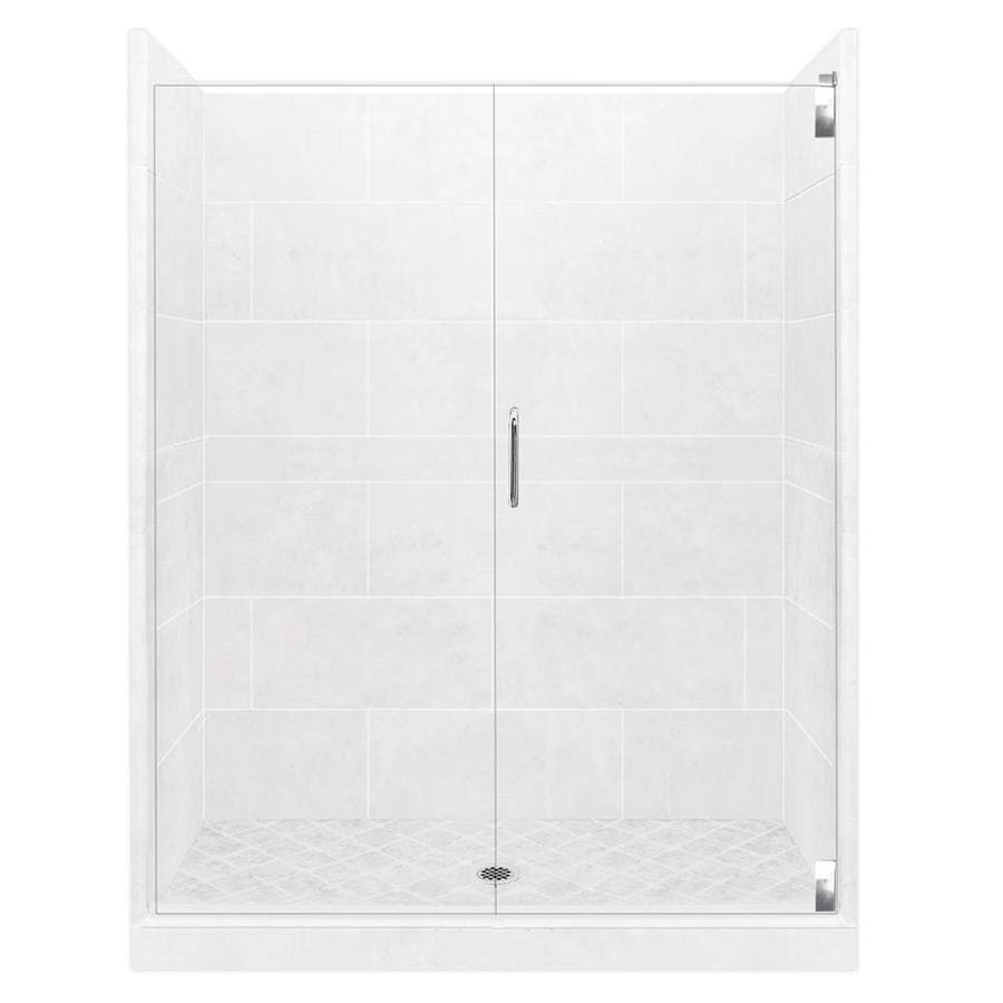 American Bath Factory Monterey Light Solid Surface Wall Stone Composite Floor 12-Piece Alcove Shower Kit (Common: 42-in x 54-in; Actual: 80-in X