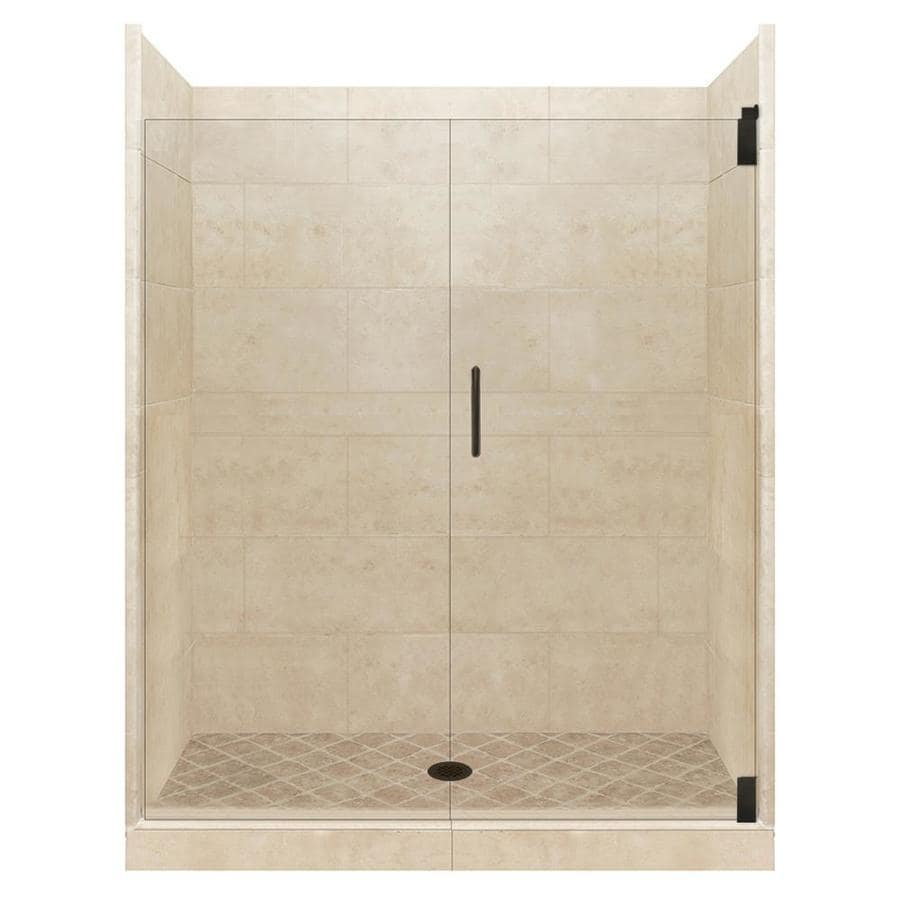American Bath Factory Sonoma Medium Solid Surface Wall Stone Composite Floor 12-Piece Alcove Shower Kit (Common: 36-in x 54-in; Actual: 80-in X