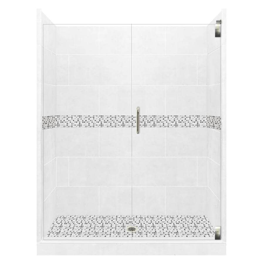 American Bath Factory Laguna Light with Laguna Mosaic Tiles Solid Surface Wall Stone Composite Floor 12-Piece Alcove Shower Kit (Common: 36-in x 54-in; Actual: 80-in X