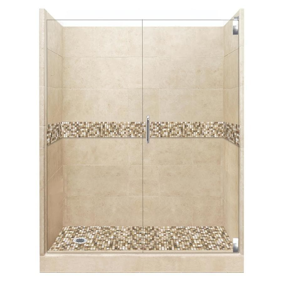 American Bath Factory Mesa Medium with Mesa Mosaic Tiles Solid Surface Wall Stone Composite Floor 12-Piece Alcove Shower Kit (Common: 30-in x 60-in; Actual: 80-in X