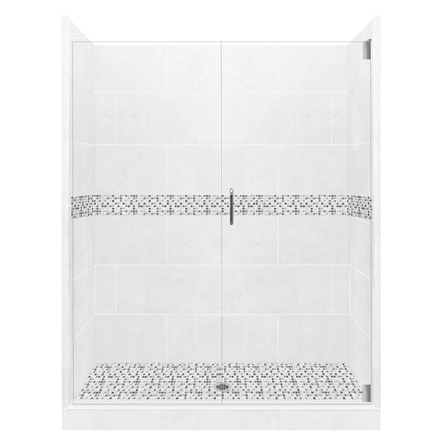 American Bath Factory Laguna Light with Laguna Mosaic Tiles Solid Surface Wall Stone Composite Floor 12-Piece Alcove Shower Kit (Common: 36-in x 60-in; Actual: 80-in X