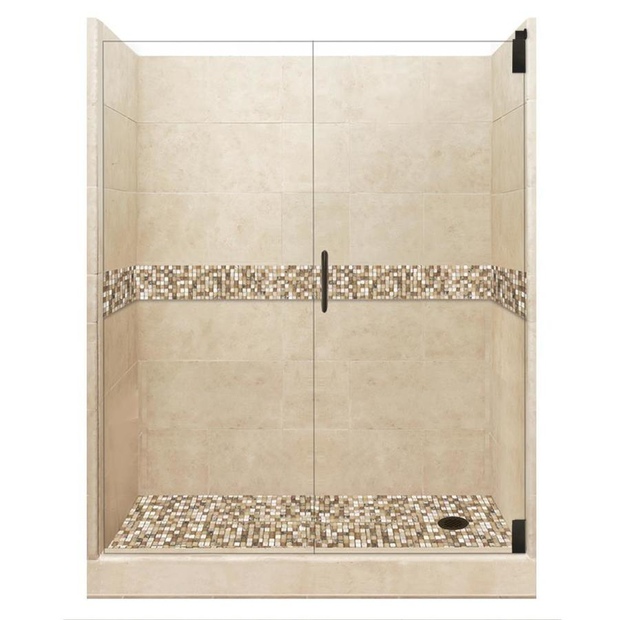 American Bath Factory Mesa Medium with Mesa Mosaic Tiles Solid Surface Wall Stone Composite Floor 12-Piece Alcove Shower Kit (Common: 32-in x 60-in; Actual: 80-in X