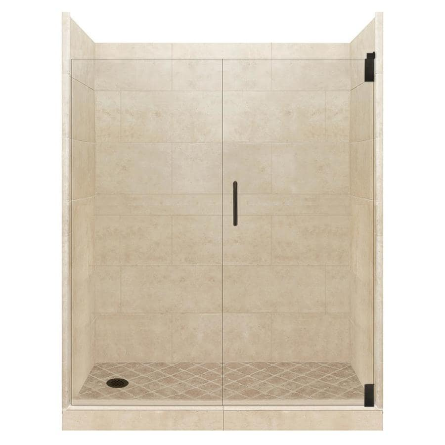 American Bath Factory Sonoma Medium Solid Surface Wall Stone Composite Floor 12-Piece Alcove Shower Kit (Common: 34-in x 60-in; Actual: 80-in X