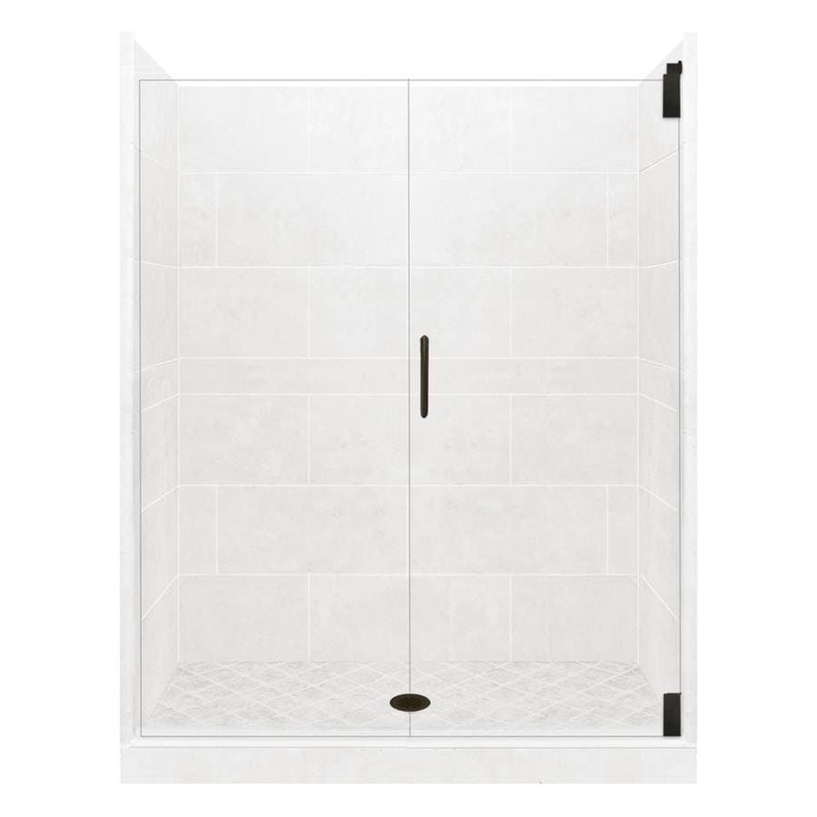 American Bath Factory Monterey Light Solid Surface Wall Stone Composite Floor 12-Piece Alcove Shower Kit (Common: 36-in x 60-in; Actual: 80-in X