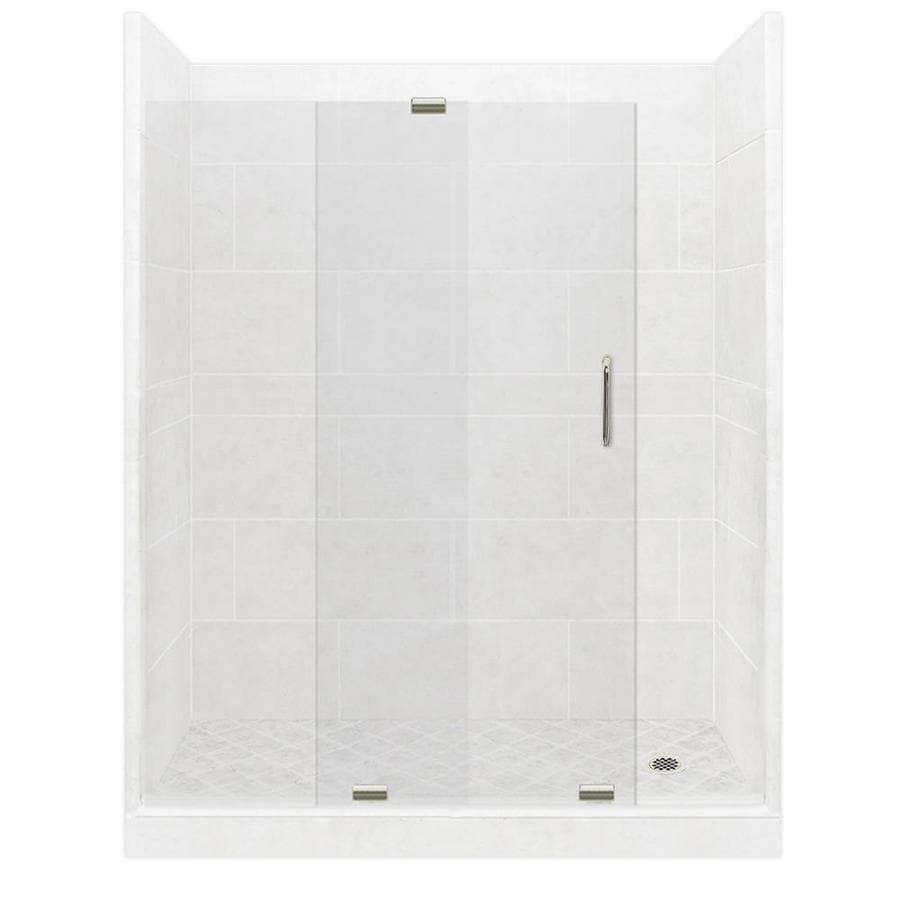 American Bath Factory Monterey Light Solid Surface Wall Stone Composite Floor 12-Piece Alcove Shower Kit (Common: 30-in x 60-in; Actual: 80-in X