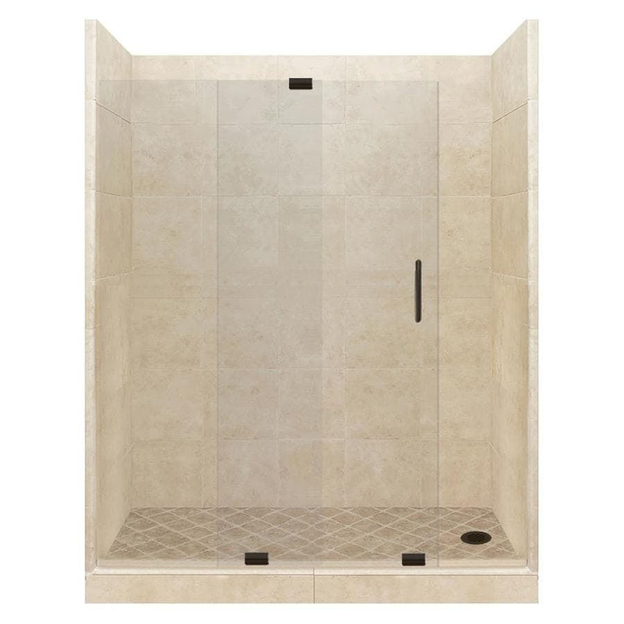 American Bath Factory Sonoma Medium Solid Surface Wall Stone Composite Floor 12-Piece Alcove Shower Kit (Common: 32-in x 60-in; Actual: 80-in X