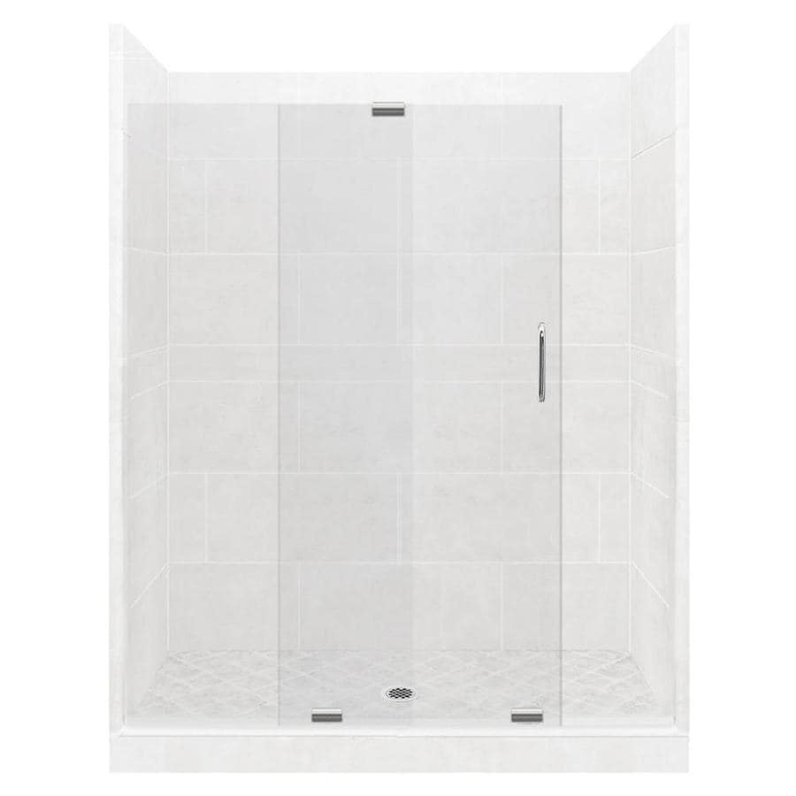 American Bath Factory Monterey Light Solid Surface Wall Stone Composite Floor 12-Piece Alcove Shower Kit (Common: 34-in x 60-in; Actual: 80-in X