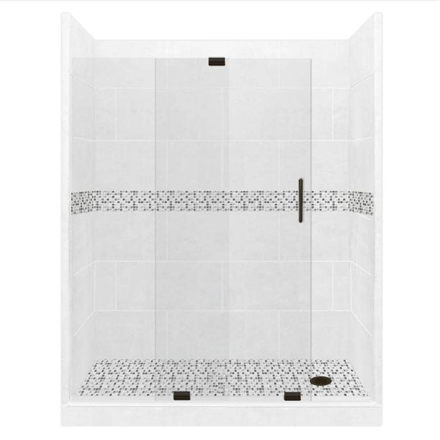 American Bath Factory Laguna Light with Laguna Mosaic Tiles Solid Surface Wall Stone Composite Floor 12-Piece Alcove Shower Kit (Common: 34-in x 60-in; Actual: 80-in X