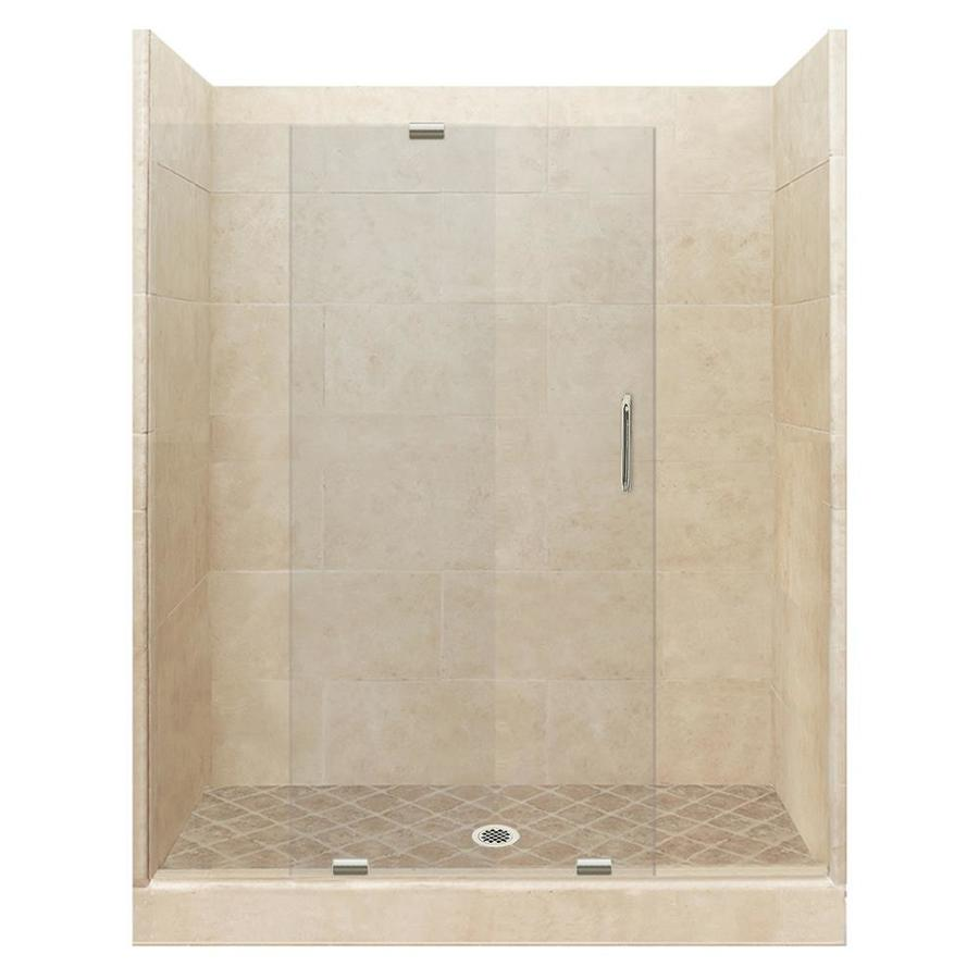 American Bath Factory Sonoma Medium Solid Surface Wall Stone Composite Floor 12-Piece Alcove Shower Kit (Common: 42-in x 60-in; Actual: 80-in X