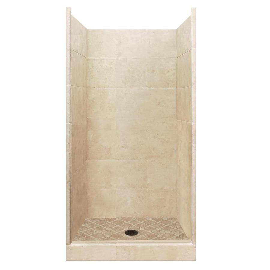 American Bath Factory Sonoma Medium Solid Surface Wall Stone Composite Floor 10-Piece Alcove Shower Kit (Common: 42-in x 42-in; Actual: 80-in x 42-in x 42-in)